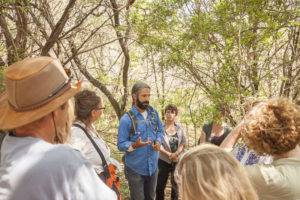 John Slattery teaches bioregional herbalism in the field at the SW Conference